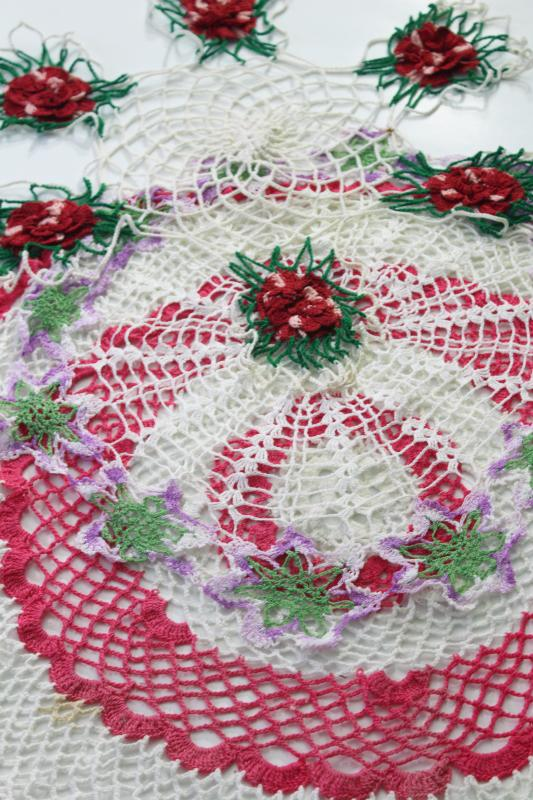 vintage crocheted doilies, colored cotton thread crochet doily lot, pink & red roses