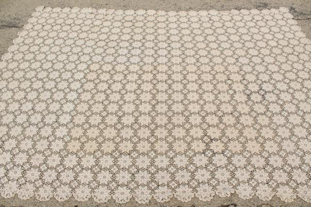 vintage crocheted lace bedspread, ecru cotton crochet flower motifs ,shabby chic cottage style