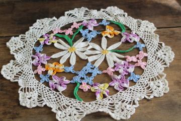 vintage crocheted lace doily, colored crochet cotton flowers spring table centerpiece
