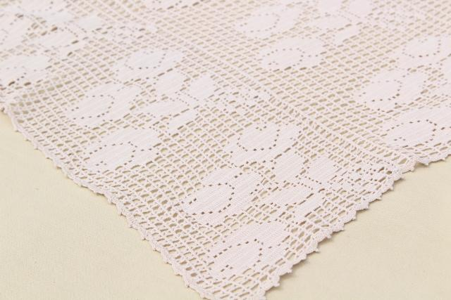 vintage crocheted lace tablecloth, handmade filet crochet roses in ecru cotton thread