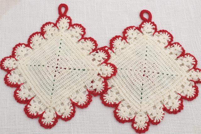 vintage crocheted pot holders, white crochet lace w/ red roses and green leaves