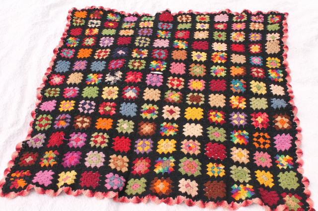 vintage crocheted wool afghan blanket, black w/ bright colors granny squares crochet