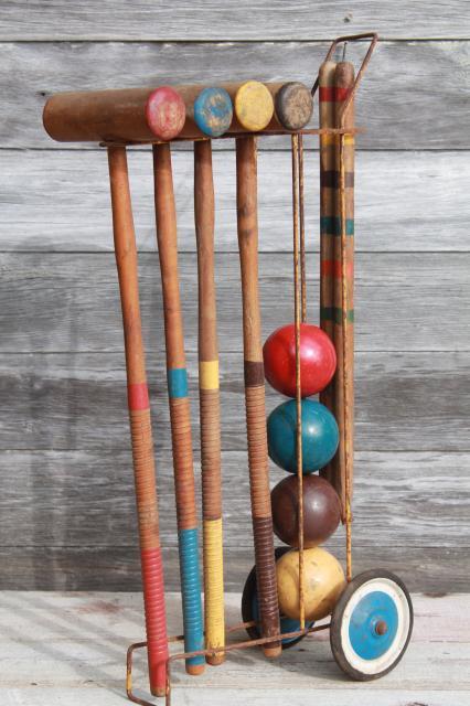 Vintage Croquet Set Old Wood Croquet Balls Amp Mallets W