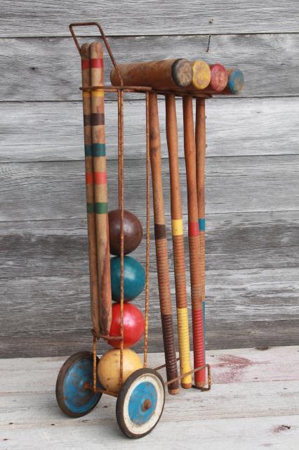 Vintage Croquet Set Old Wood Mallets W