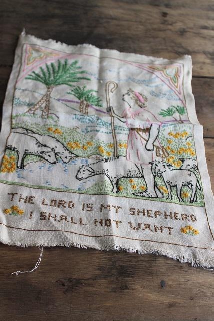 vintage cross stitch embroidered linen motto sampler The Lord is my Shepherd Psalm 23