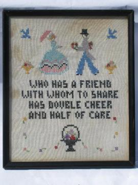 vintage cross-stitch embroidered motto, framed sampler picture, a friend -