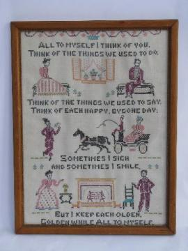 vintage cross-stitch embroidered sampler, these happy golden years motto