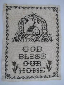 vintage cross-stitch sampler god bless our home