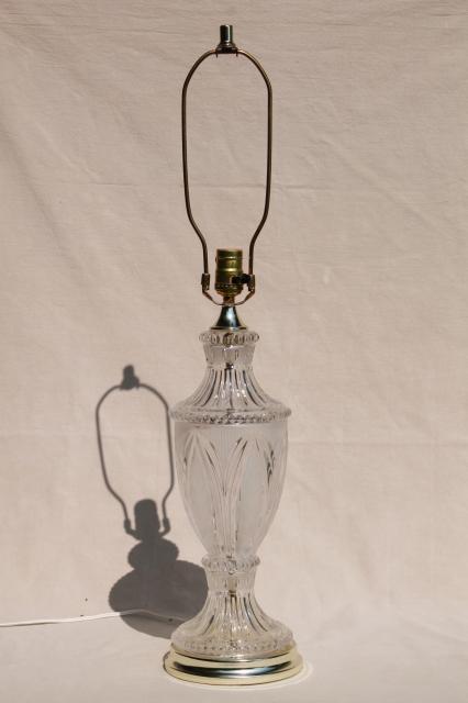 Vintage Crystal Clear European Lead Crystal Brilliant Cut Glass Table Lamp