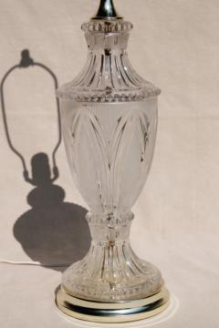 vintage crystal clear European lead crystal brilliant cut glass table lamp