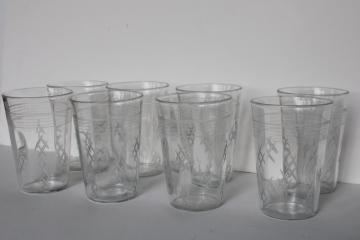vintage crystal clear depression glass tumblers, panel optic w/ cross hatch etched pattern