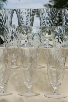vintage crystal clear elegant glass iced tea glasses, Cambridge Caprice footed tumblers