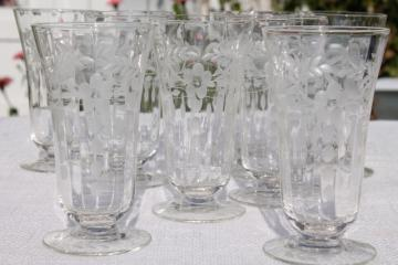 vintage crystal clear etched cut glass footed tumblers, 8 iced tea glasses paneled optic floral