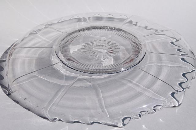 vintage crystal clear glass cake or torte plate, Cambridge glass Martha blank without etch