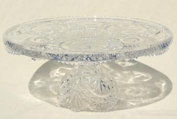 vintage crystal clear glass cake stand, Hofbauer Byrdes cut birds bird pattern