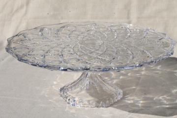 vintage crystal clear glass cake stand, daisy & thumbprint pinwheel pattern glass