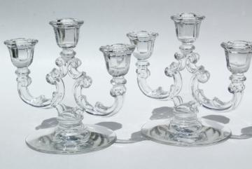 vintage crystal clear glass candelabra, Cambridge double light branched candlesticks