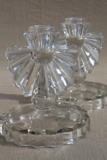Greatest vintage crystal clear glass candle holders, pair of candlesticks w  NS29