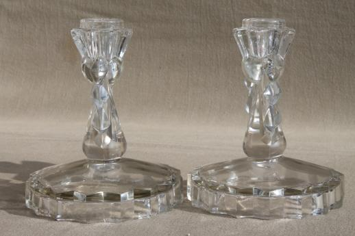Very best vintage crystal clear glass candle holders, pair of candlesticks w  CN87
