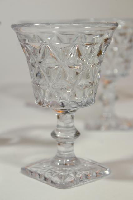 vintage crystal clear glass cocktail glasses, Imperial Mt Vernon pattern glass