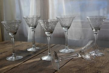 vintage crystal clear glass cocktail glasses, Seneca stemware stem 9936 w/ flower etch