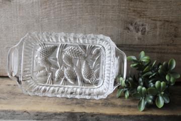 vintage crystal clear glass cranberry dish, pine cone pattern glass tray