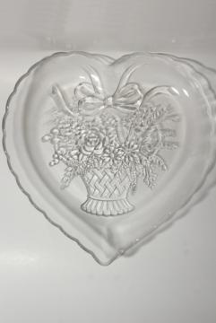 vintage crystal clear glass heart shaped tray or serving plate, Mikasa Endearment