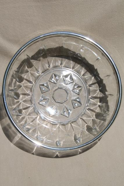 vintage crystal clear glass serving bowl w/ silver rim & silverplate salad servers