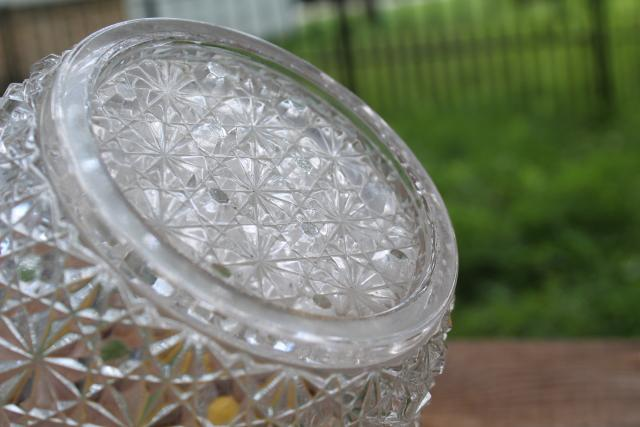 vintage crystal clear glass wine bottle ice bucket, daisy & button pattern pressed glass