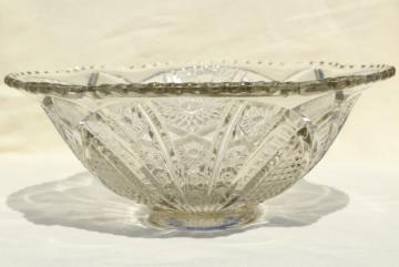 vintage crystal clear heavy pressed glass bowl, McKee Concord or - tec pattern