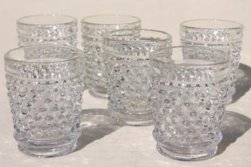 vintage crystal clear hobnail pattern glass shot glasses or individual mini vases
