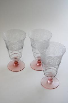 vintage crystal clear / pink stem etched pattern optic footed tumblers iced tea glasses