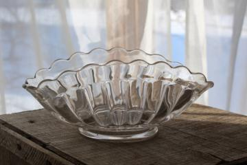 vintage crystal clear pressed glass banana boat, pillar flute fluted bowl oval basket