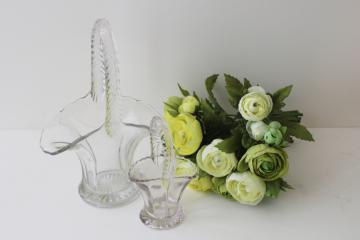 vintage crystal clear pressed glass baskets, Easter basket for candy or flowers