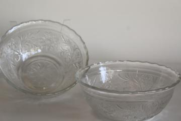 vintage crystal clear pressed glass bowls, Sandwich pattern Anchor Hocking