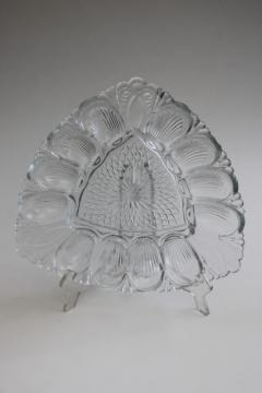 vintage crystal clear pressed glass egg plate, triangle shape tray for deviled eggs