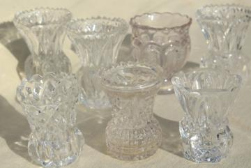 vintage crystal clear pressed glass mini vases, match & toothpick holders