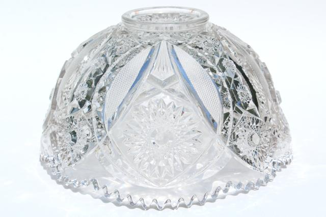 Vintage Crystal Clear Pressed Glass Punch Bowl And Stand