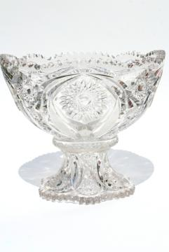 vintage crystal clear pressed glass punch bowl and stand, whirling star pattern