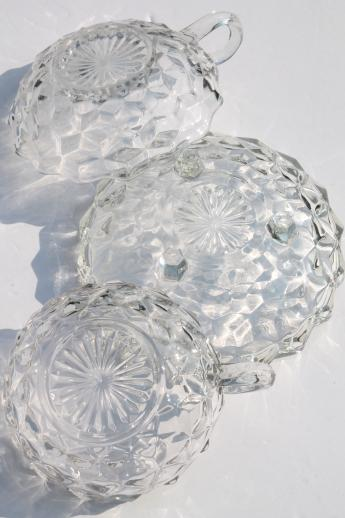 Vintage Cube Pattern Glass Dishes Homco Rose Bowl