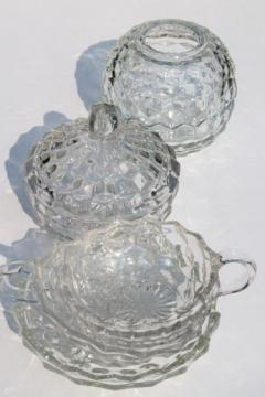vintage cube pattern glass dishes, Homco rose bowl, Whitehall & Fostoria American