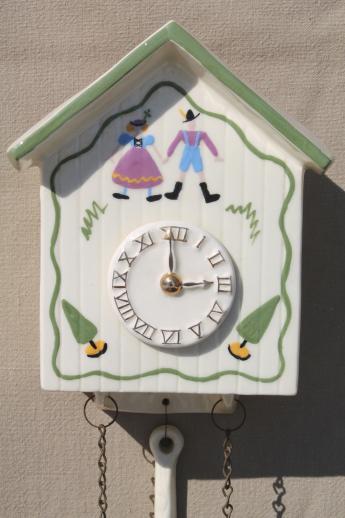 Vintage Cuckoo Clock Wall Pocket Hand Painted Ceramic