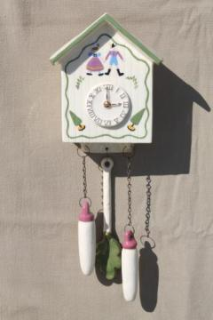 vintage cuckoo clock wall pocket, hand-painted ceramic pottery wall box planter