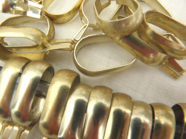 vintage curtain rings gold tone aluminum metal oval ring clips