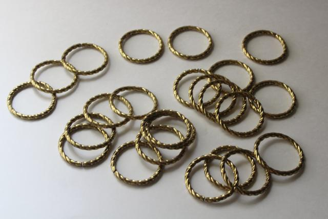 vintage curtain rings, large round brass plated metal hoops w/ rope twist