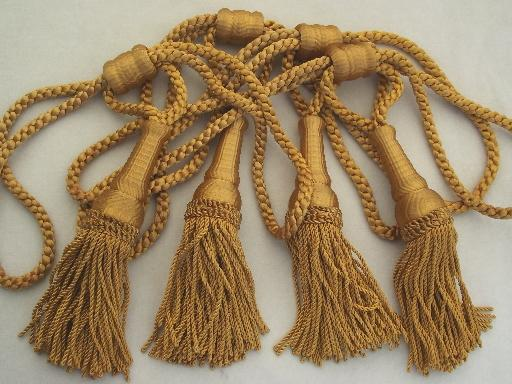Vintage Curtain Tie Backs Antique Gold Bullion Fringe