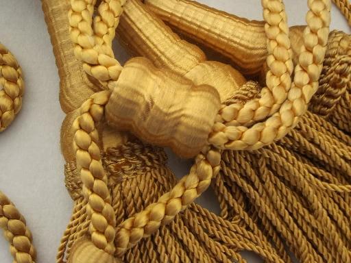 curtain tie-backs, antique gold bullion fringe, large tassels