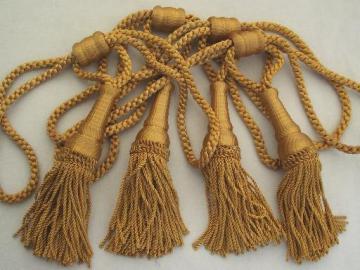 vintage curtain tie-backs, antique gold bullion fringe, large tassels