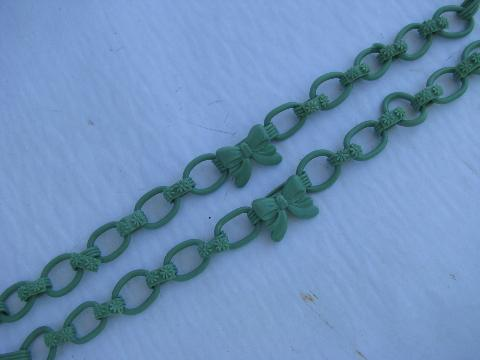 vintage curtain tie-backs - flower push-pins, jade green celluloid bow chains