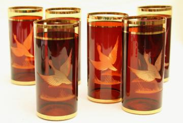 vintage cut etched amber glass tumblers, duck pattern glasses, Bavaria Germany or Bohemian Czech glass
